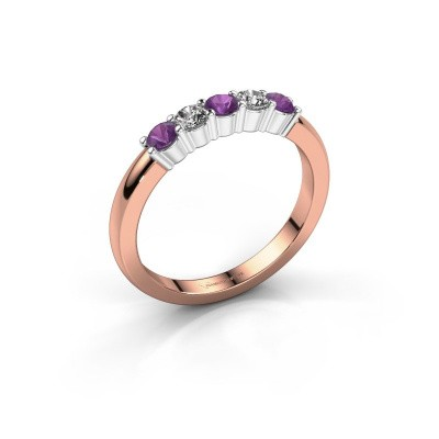 Picture of Engagement ring Yasmin 5 585 rose gold amethyst 3 mm