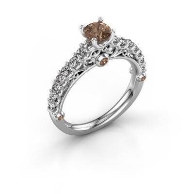 Verlovingsring Shaunda 950 platina bruine diamant 1.00 crt