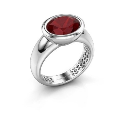 Bague Evelyne 585 or blanc rubis 10x8 mm