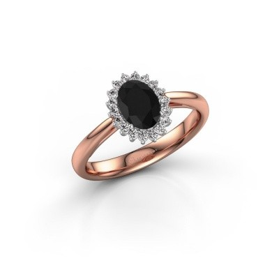 Picture of Engagement ring Tilly ovl 1 585 rose gold black diamond 1.05 crt