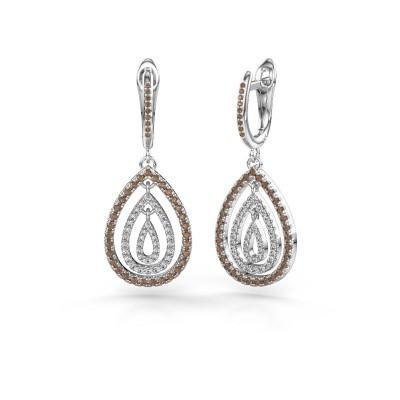 Foto van Oorhangers Marietta 2 950 platina bruine diamant 0.852 crt