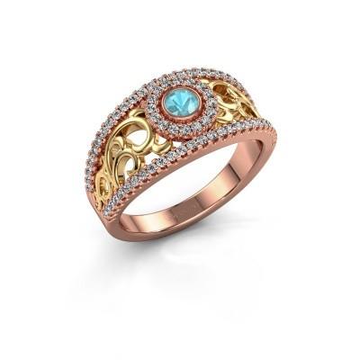 Foto van Ring Lavona 585 rosé goud blauw topaas 3.4 mm