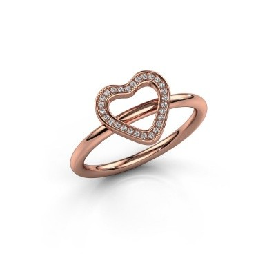 Foto van Ring Shape heart large 585 rosé goud diamant 0.07 crt