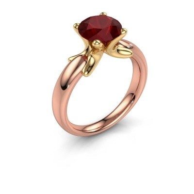 Ring Jodie 585 rosé goud robijn 8 mm