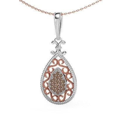 Hanger Tammie 585 witgoud bruine diamant 0.27 crt