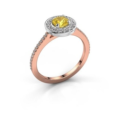 Ring Agaat 2 585 rosé goud gele saffier 5 mm