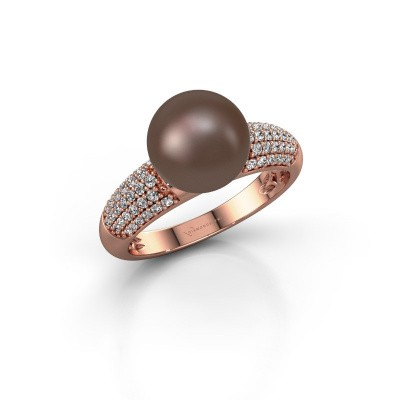 Foto van Ring Anisa 375 rosé goud bruine parel 9 mm