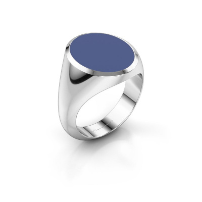Signet ring Herman 6 375 white gold blue enamel 16x13 mm
