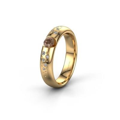 Trouwring WH2104L34A 375 goud bruine diamant ±4x1.7 mm