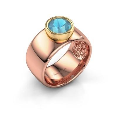 Bague Klarinda 585 or rose topaze bleue 7 mm