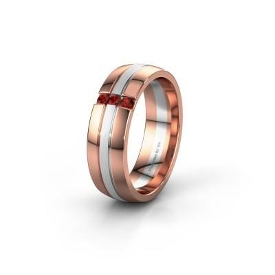 Wedding ring WH0426L26A 585 rose gold garnet ±0.24x0.07 in