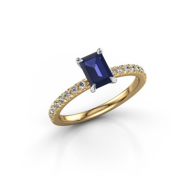 Picture of Engagement ring Crystal EME 2 585 gold sapphire 6.5x4.5 mm
