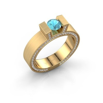 Foto van Ring Leena 2 375 goud blauw topaas 5 mm