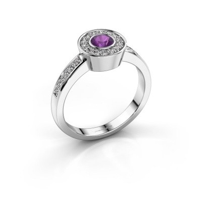 Ring Adriana 2 585 witgoud amethist 4 mm