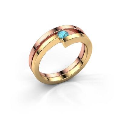 Foto van Ring Nikia 585 rosé goud blauw topaas 3.4 mm