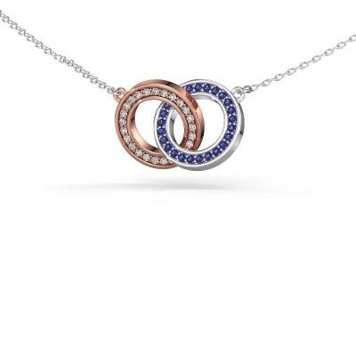 Halsketting Circles 2 585 rosé goud saffier 1 mm