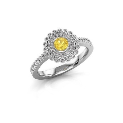 Engagement ring Shanelle 585 white gold yellow sapphire 4 mm