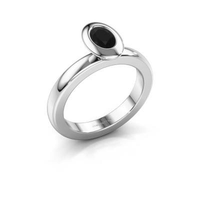 Stapelring Trudy Oval 925 zilver zwarte diamant 0.60 crt