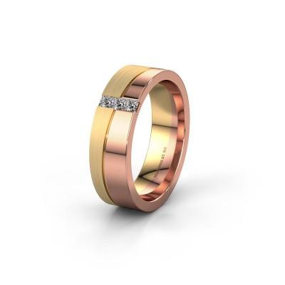 Trouwring WH0906L16A 585 rosé goud diamant ±6x1.7 mm