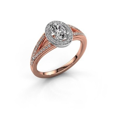 Verlovings ring Angelita OVL 585 rosé goud zirkonia 6x4 mm