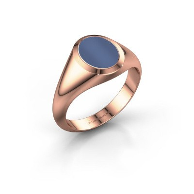 Signet ring Evon 1 375 rose gold blue sardonyx 10x8 mm