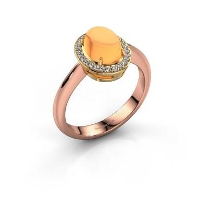 Ring Kristian 585 rosé goud citrien 8x6 mm