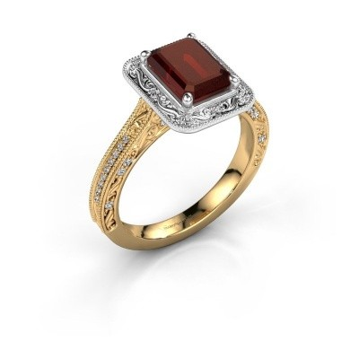 Verlovings ring Alice EME 585 goud granaat 7x5 mm