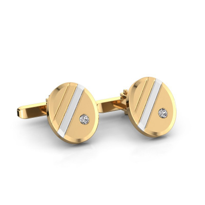 Foto van Manchetknopen Wesley 585 goud diamant 0.16 crt