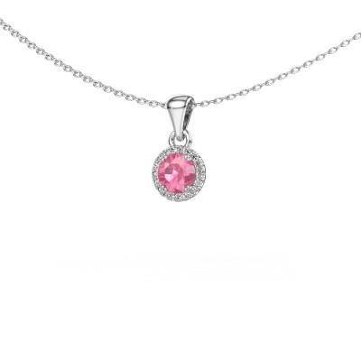 Hanger Seline rnd 925 zilver roze saffier 4.7 mm