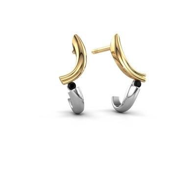 Oorbellen Tish 585 goud zwarte diamant 0.036 crt