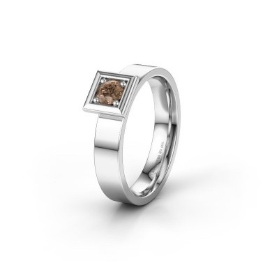 Trouwring WH2112L14A 585 witgoud bruine diamant ±4x1.7 mm
