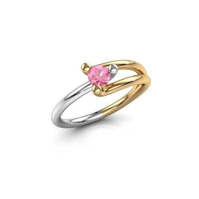 Foto van Verlovingsring Roosmarijn 585 goud roze saffier 4 mm