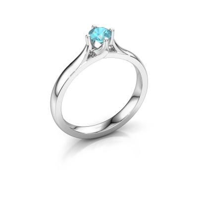 Verlovingsring Eva 585 witgoud blauw topaas 4.2 mm