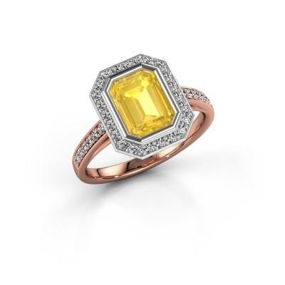 Verlovingsring Noud 2 EME 585 rosé goud gele saffier 8x6 mm