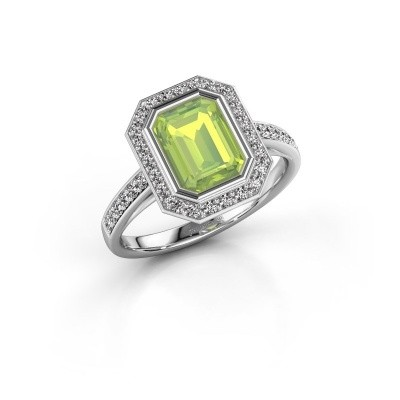 Picture of Engagement ring Noud 2 EME 925 silver peridot 8x6 mm