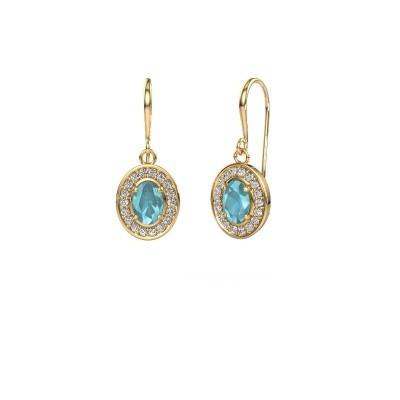 Drop earrings Layne 1 375 gold blue topaz 6.5x4.5 mm