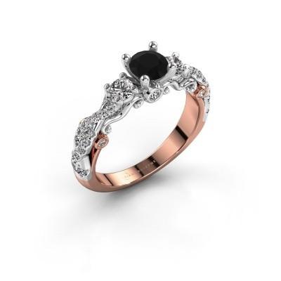 Verlovingsring Kourtney 585 rosé goud zwarte diamant 1.156 crt