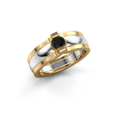 Ring Jade 585 white gold black diamond 0.30 crt