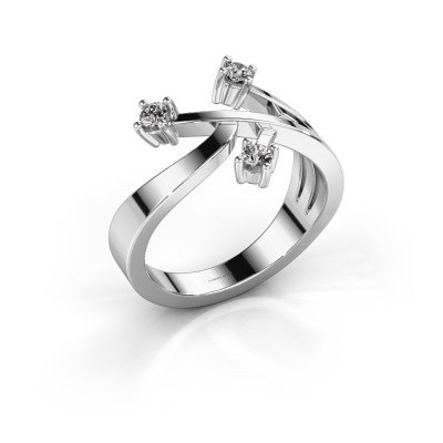 Ring Lillian 585 witgoud zirkonia 2.5 mm