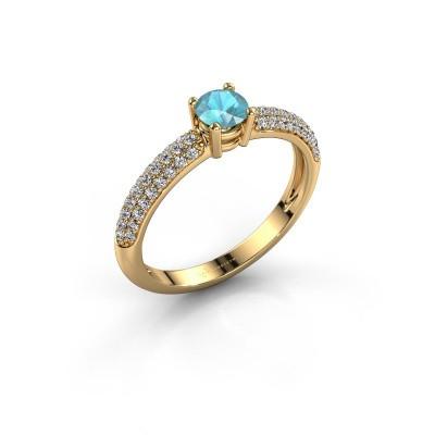 Foto van Ring Marjan 375 goud blauw topaas 4.2 mm