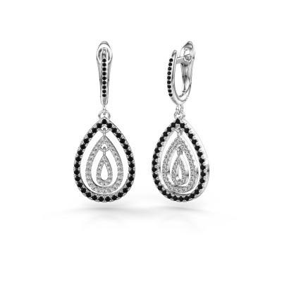 Foto van Oorhangers Marietta 2 925 zilver zwarte diamant 0.958 crt