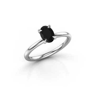 Photo de Bague de fiançailles Crystal OVL 1 585 or blanc diamant noir 1.05 crt