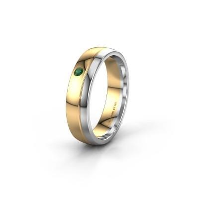 Trouwring WH0301L25AP 585 goud smaragd ±5x1.7 mm