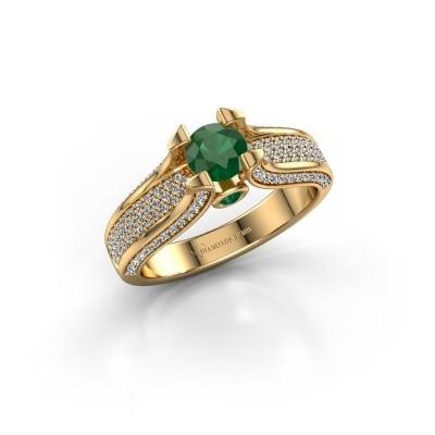 Foto van Verlovingsring Jeanne 2 375 goud smaragd 5 mm