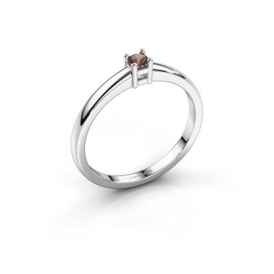 Promise ring Eline 1 585 witgoud rookkwarts 3 mm