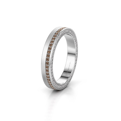 Trouwring WH2214L15BM 925 zilver bruine diamant 0.55 crt ±3,5x2 mm