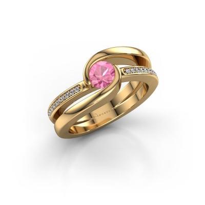 Foto van Ring Xenia 2 585 goud roze saffier 5 mm