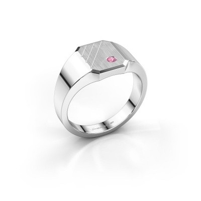 Picture of Signet ring Patrick 1 585 white gold pink sapphire 2 mm