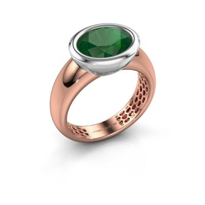 Ring Evelyne 585 rose gold emerald 10x8 mm