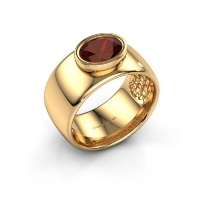 Ring Anouschka 585 goud granaat 8x6 mm
